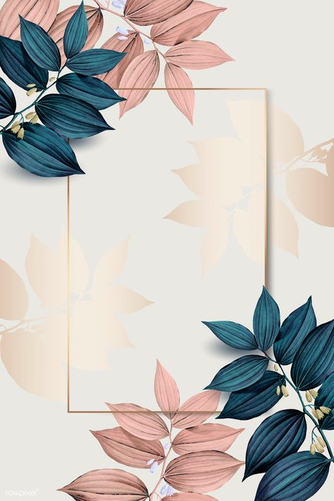 Rectangle gold frame on pink and blue leaf pattern background vector | premium image by rawpixel.com / wan