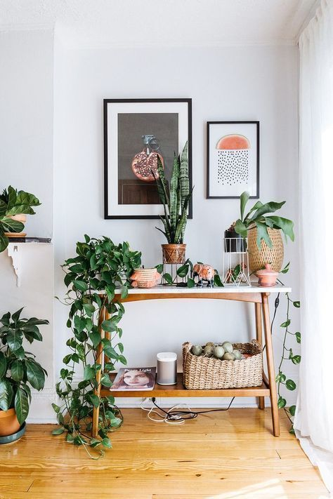 This Is How a Swede Designs a Tiny Brooklyn Apartment via @MyDomaine - A mix of mid-century modern, bohemian, and industrial interior style. Home and apartment decor, decoration ideas, home design, bedroom, living room, dining room, kitchen, bathroom, office, simple, modern, contemporary, boho, bohemian, beach style, industrial, rustic, DIY project inspiration, furniture, bed, table, chair, architecture, building, interior, exterior, lighting