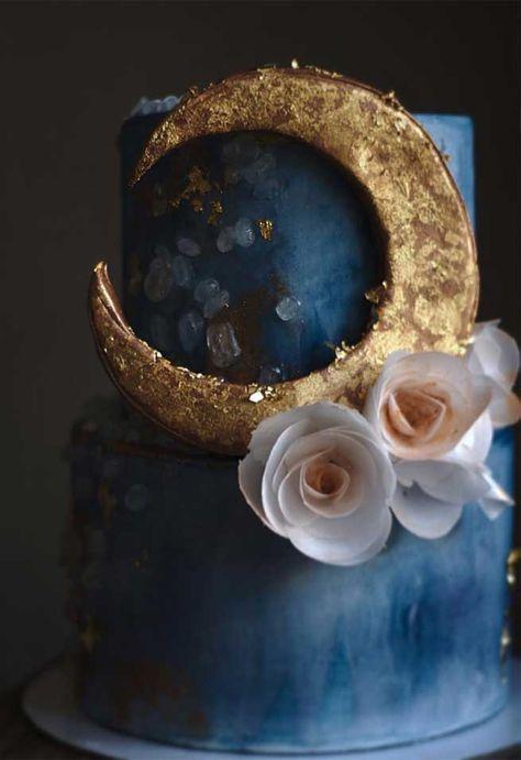 dark blue with gold crescent moon wedding cake, wedding cake ideas , wedding cakes