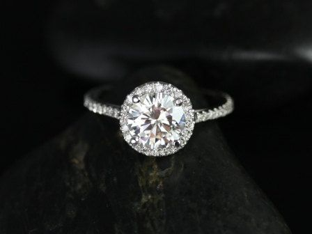 Kubian Original Size 14kt White Gold Thin Round FB Moissanite Halo Engagement Ring (Other metals and stone options available) on Etsy, $1,475.00