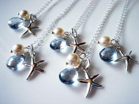 5 Beach Theme Wedding Starfish Blue Quartz 925 Necklace from Romantic Brides