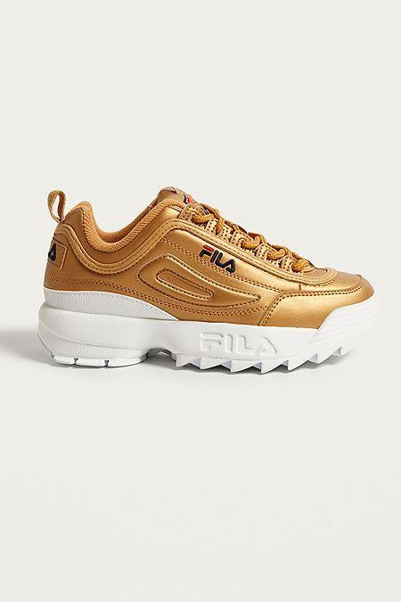 cdb5449a6f34 FILA - Baskets Disruptor II Premium métal doré | Health | Shoes, Gold  trainers, Sneakers