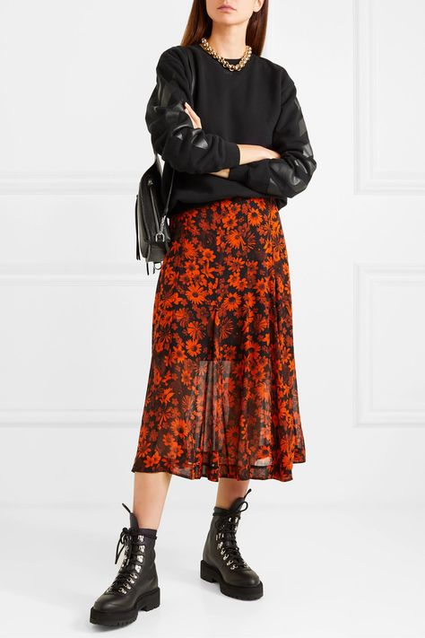 Black and orange silk-chiffon Concealed hook and zip fastening along side silk; Midi Skirt Outfit, Winter Skirt Outfit, Skirt Outfits, Fall Outfits, Orange Skirt Outfit, Fashion Outfits, Off White Sweatshirt, Wedding Dress Bustle, Edgy Look