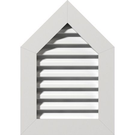 30 Inchw X 26 Inchh Peaked Top Gable Vent 35 Inchw X 31 Inchh Frame Size 5 12 Pitch Unfinished Functional Pvc Gable Vent W 1 Inch X 4 Inch Flat Trim Frame