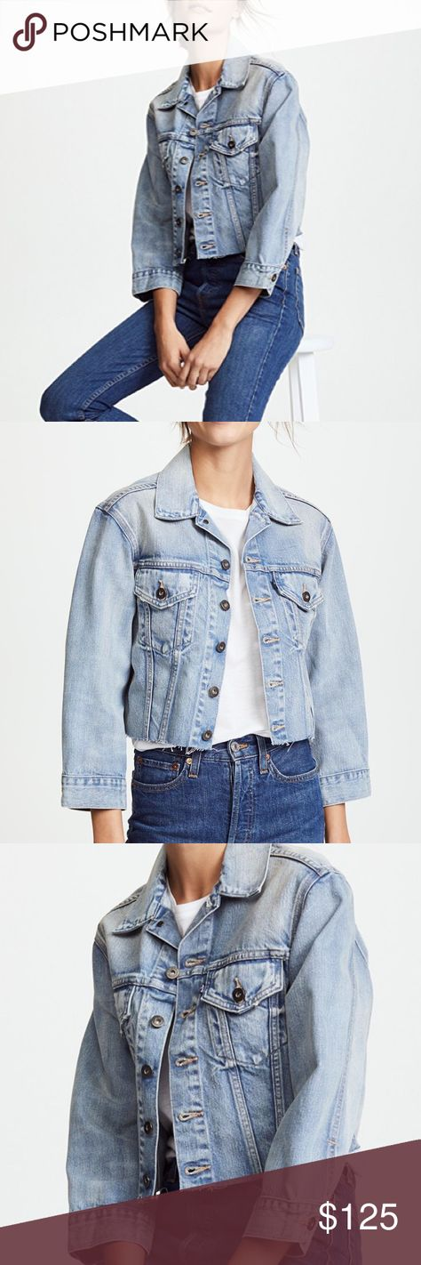 """NWT Levi's LMC Denim Cropped BF Jacket Raw Hem NWT Levis Made & Crafted Womens Denim Cropped BF Trucker Jacket Size M Raw Hem Retail $298  A raw hem gives this Levi's denim jacket a hand-cropped effect, without the anxiety of DIY.  • Fabric: Non-stretch denim • Raw hem • Shell: 100% cotton  Condition: New With Tags! Tag Size: 2 (US-Medium)Measurements: Armpit to armpit: 19"""" Length: 18"""" front; 17"""" back Armpit to end of sleeve: 14"""" Please follow me for more great items and sweet deals! Thank you"""