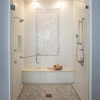 Gray Herringbone Pattern Shower Wall Tiles Transitional