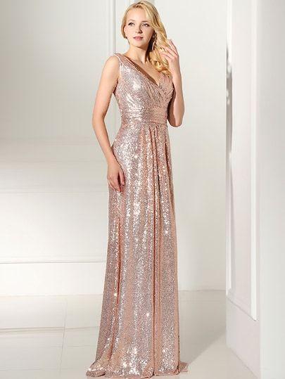 Rose Gold Sequin V Back Maxi Bridesmaid Dress Shein Sheinside Formal Prom Dresses Long Maxi Bridesmaid Dresses Formal Dresses Prom