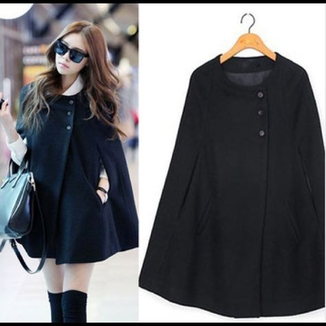 Cheap trench coat dress, Buy Quality trench coat directly from China coat trench Suppliers: Winter Women Casual Womens Cape Black Batwing Poncho Lady Winter Warm Cloak Trench Coat Women Cardigan