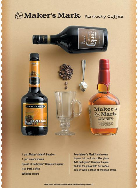 Perfect for Brunch or a chilly #Fall night - add a little bourbon, hazelnut, and cream liqueur to make it KY Coffee. Best part of waking up?