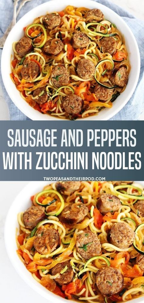 Sausage and Peppers with Zucchini Noodles- Sausage and Peppers with Zucchini Noodles is a sweet and spicy Italian sausage with peppers, onions, and zucchini noodles in a simple garlic tomato sauce. A quick and easy dinner that the entire family will love! Sausage Recipes, Pork Recipes, Pasta Recipes, Diet Recipes, Cooking Recipes, Healthy Recipes, Recipes For Zucchini Noodles, Zucchini Dinner Recipes, Cooking Tips