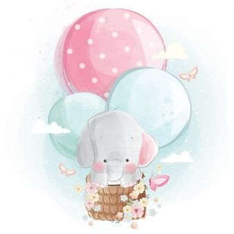 Mommy and baby elephant holding a balloon Vector | Premium Download