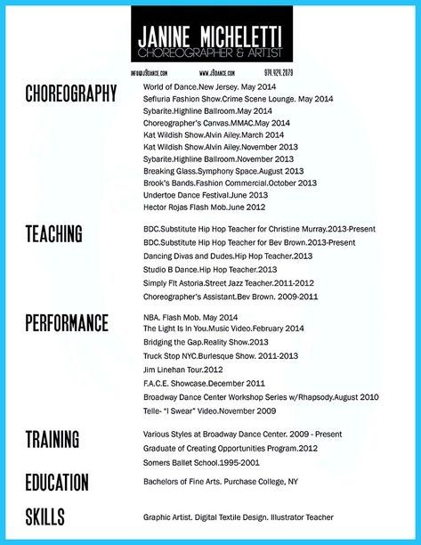 Cool The Best And Impressive Dance Resume Examples Template