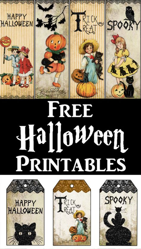 Grab these 3 cute free Vintage Halloween Printables! Included are Tags, Bookmarks and Treat Bag Toppers. The Bookmarks are great to use as a Candy Alternative for the Teal Pumpkin Project. By the French Heart for The Graphics Fairy halloween hourderves Halloween Tags, Retro Halloween, Fairy Halloween Costumes, Halloween Prints, Halloween Projects, Holidays Halloween, Vintage Halloween Crafts, Halloween 2018, Easy Halloween