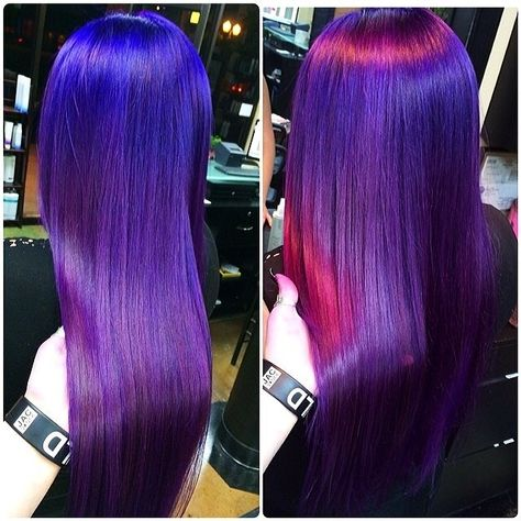 Purple hair shows as blue hair in normal light and pink hair in direct light, amazing .