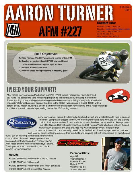 2013RaceResumepng (2550×3300) Race Resume Inspirations Pinterest - motocross sponsorship resume