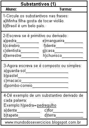Substantivos Atividades Substantivos Atividades De Portugues