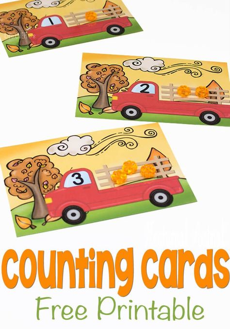 These pumpkin counting cards are perfect math practice for preschool. They are a great free fall printable and help children work on number correspondence and counting! Affiliate
