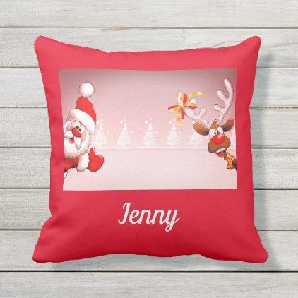Christmas Reindeer Santa Funny Red White Name 2019 Outdoor Pillow Zazzle Com Santa Funny Decorative Holiday Pillows Christmas Decorations Bedroom