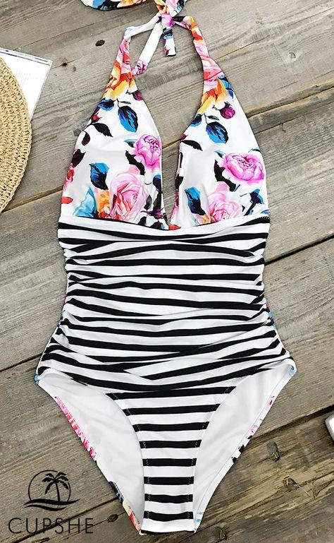 ZAFUL Frauen hoch taillierte Badeanzug Halfter EIN St/ück Scalloped Bikini Set