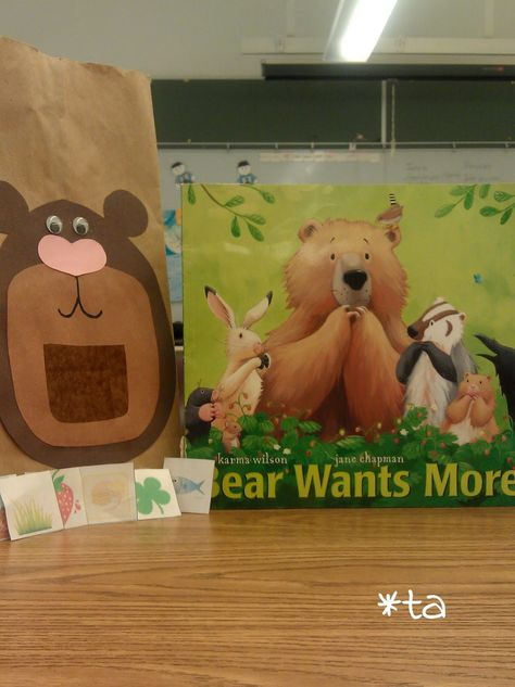 Bubba bear. Bear puppet, students feed the bear clover, grass, fish, berries, honey cakes and roots as they retell the story, Bear Wants More. Kaewai Honeybees