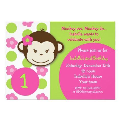 Mod monkey girl birthday party invitations myas bday pinterest mod monkey girl birthday party invitations filmwisefo
