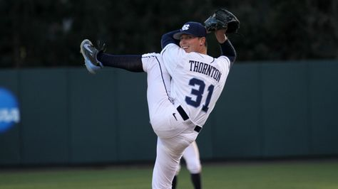Trent Thornton (31) comes in to try to close things out in the ninth.
