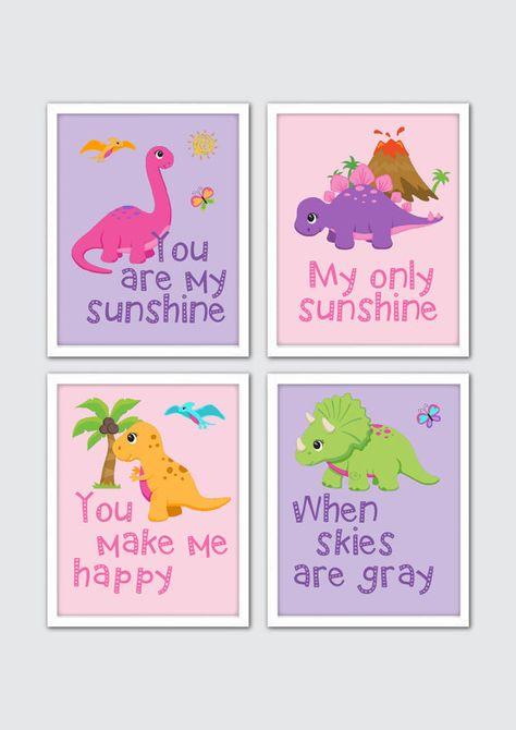 Dinosaur Nursery Wall Art Set Newborn Keepsake Gift Printable Personalized Nursery Prints Dinosaur Baby Name Print