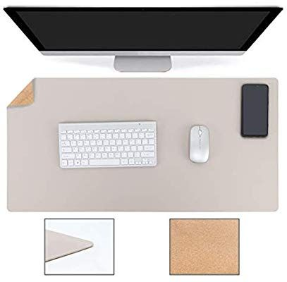 Amazon Com 2020 New Updated Desk Pad Waterproof Pvc Leather Combined With Cork 31 5 X 15 7 Dual Sided Cork Writing In 2020 Desk Mouse Pad Desk Pad White Desk Pad
