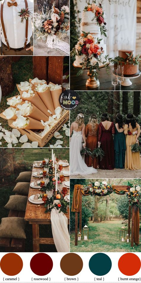 Setting your wedding date during the fall may persuade you to set a fall wedding theme for your wedding. Autumn themed weddings are meant to be warm, cozy affairs, and the reception is the perfect time to build on your theme. Rustic Wedding Colors, Fall Wedding Colors, September Wedding Colors, Wedding Themes For Fall, Colour Themes For Weddings, Autumn Wedding Dresses, Autumn Wedding Ideas October, Neutral Color Wedding, Fall Wedding Inspiration