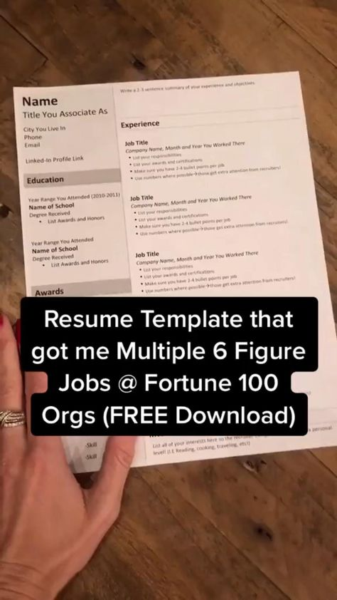 Resume Template Download that Works