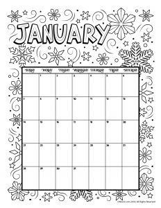 Printable Coloring Calendar January 2019 Printable Coloring Calendar for 2019 (and 2018!) | Christmas
