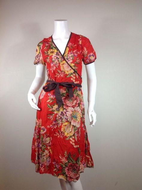 Womens All Handcraft Flower Design Summer Boho Hippie Dress Red