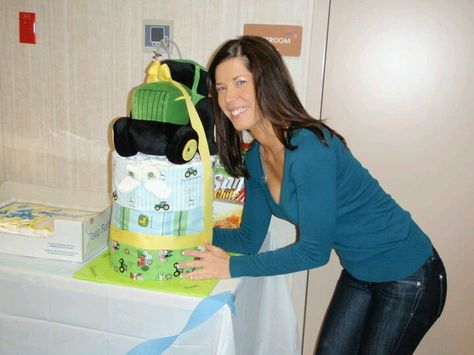 John Deer inspired diaper cake. Baby's first tractor!