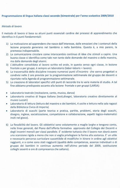 Programmazione Annuale Di Italiano Per La Classe Seconda Della