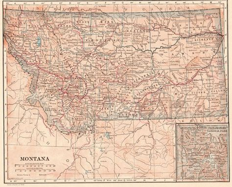 Details about 1914 Antique Montana State Map Original Vintage Map of ...
