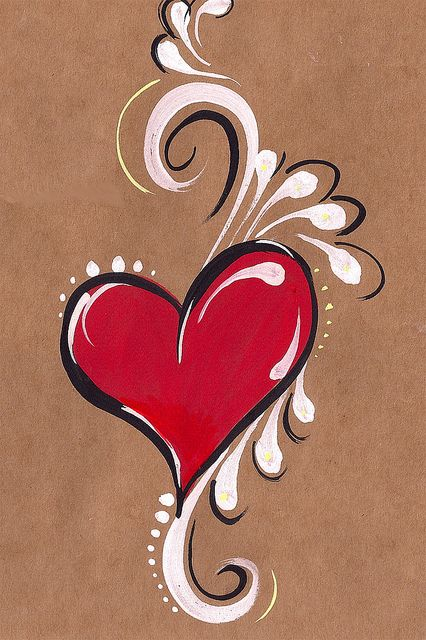 heart painted on brown paper - idea for glass painting Heart Painting, Tole Painting, Painting & Drawing, Simple Face Painting, Belly Painting, Diy Painting, Face Painting Designs, Paint Designs, Painting Tutorials