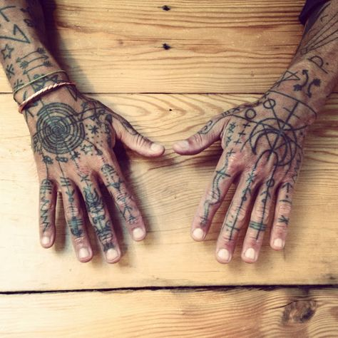 Shapes and symbols tattoos for hands.