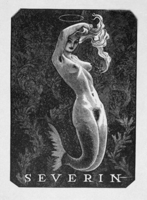 Mermaid Ex Libris by Mark F. Severin, c. 1950