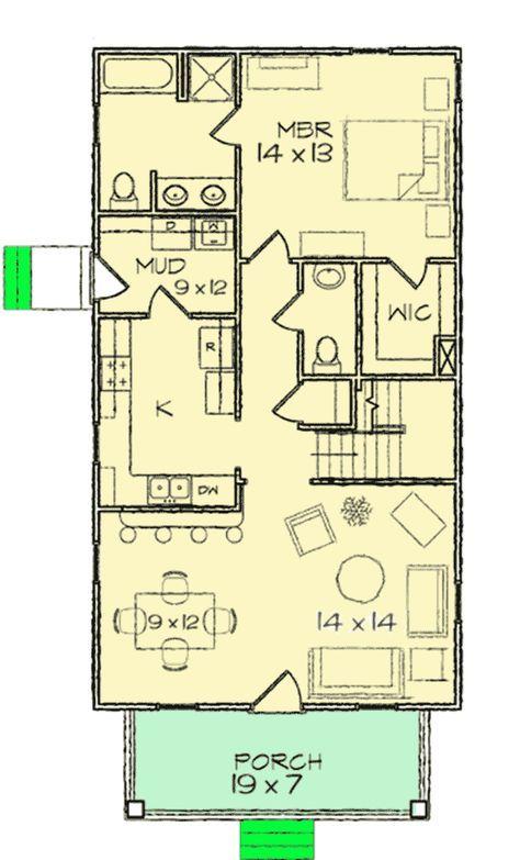 Plan 10030tt Narrow Lot Bungalow Home Plan Small House Floor Plans House Plans Bungalow House Plans