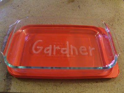 Etched glass personalized casserole dish @Stefanie Santillo