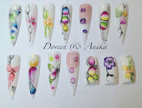Pin Van Grazie Addict Gauka Op Aquarelle Nail Art Aquarel