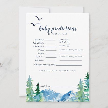 Rocky Mountain Baby Predictions Advice Card Zazzle Com In 2020 Baby Prediction Advice Cards Baby Prediction Cards