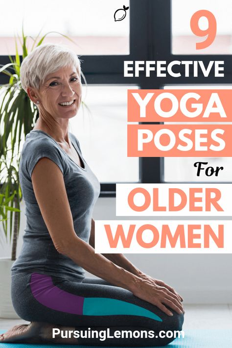 Yoga for Older Women: 9 Effective Asanas : Truly Amazing! The benefits of yoga for older women include relieving headaches, joint pain and back pain. Because of this, yoga is getting popular among older adults. Yoga Fitness, Fitness Senior, Health Fitness, Health Yoga, Fitness Plan, Workout Fitness, Diy Yoga, Yoga Bewegungen, Yoga Flow
