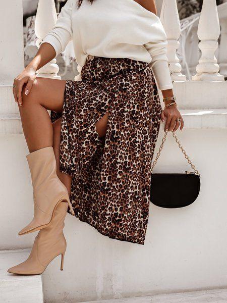 Spodnica Midi W Panterke Z Rozcieciem Fashion Skirts Maxi Skirt