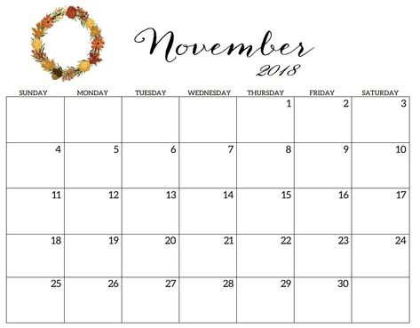 Download Free Printable Template November 2018 Calendar Cute To
