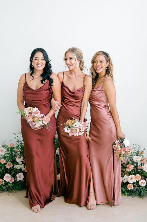 Bridesmaid Dress Shades, Slip Bridesmaids Dresses, Satin Dresses, Wedding Bridesmaids, Copper Dress, Groomsmen, Dream Wedding, Marriage, Wedding Ideas