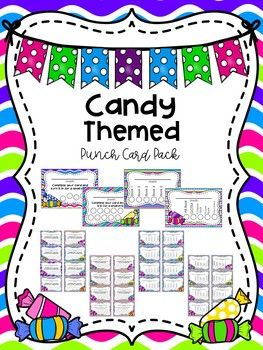 Candy Themed Punch Card Pack Candy Theme Classroom Classroom Passes Punch Cards