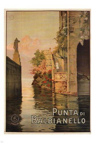 Punta di Balbianello VINTAGE TRAVEL POSTER ITALY 1925 24X36 rare collectors