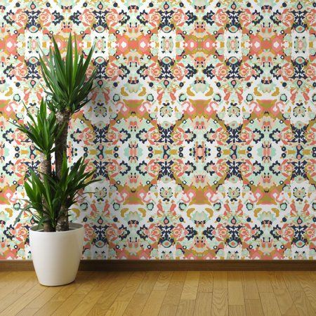 Peel And Stick Removable Wallpaper Coral Jubilee Custom Ivie Cloth Co Quilting Walmart Com Source In 2020 Wallpaper Panels Peel And Stick Wallpaper Wallpaper Roll