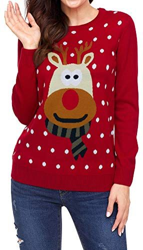 Ladies Christmas 3D Light Pom Pom Reindeer Tree Knitted Jumper Dress UK 8-22